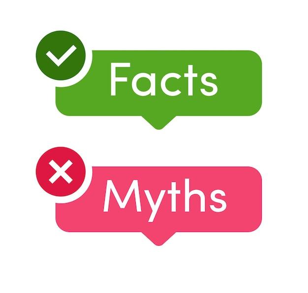 Fakten und mythen vektor-icon-set isoliert auf weißem hintergrund faktencheck oder einfache beweise vergleichen
