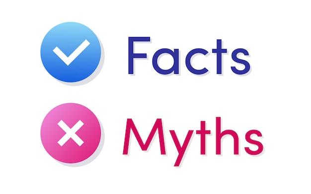 Fakten und mythen vektorsymbol isoliert auf weißem hintergrund faktenprüfung oder einfache beweise vergleichen