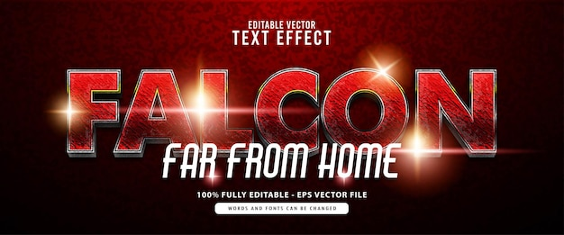 Falcon, heroes glänzend rot und silber texteffekt, geeignet für filmtitel, poster und printprodukte
