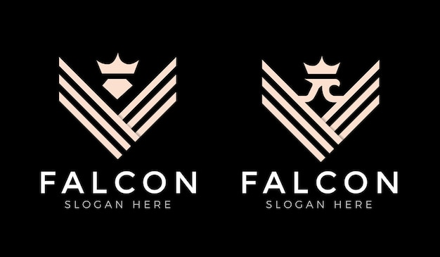 Falke, falke, adlerflügel starkes monogramm-logo