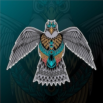 Falke mit zentangle-ornament-illustration