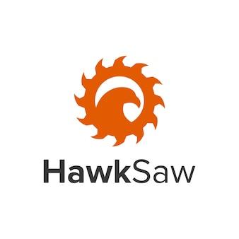Falke und säge einfaches schlankes kreatives geometrisches modernes logo-design