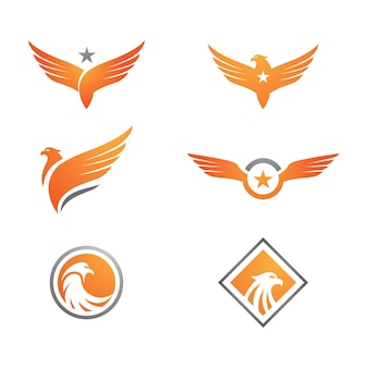Falkenflügel-symbol vorlage vektor-illustration-design