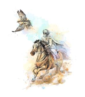 Falkenjagd. arabischer mann mit einem falken und einem pferd von einem spritzer aquarell, handgezeichnete skizze. illustration von farben