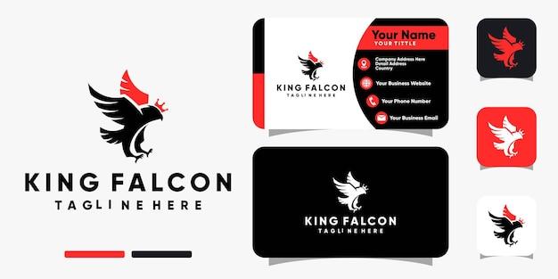Falkenkönig mit kronenlogo und visitenkarten-design-vektorvorlage