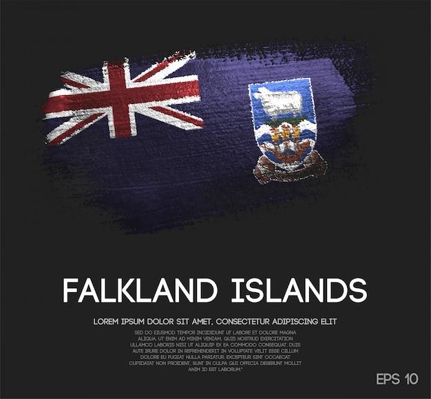 Falklandinseln-flagge gemacht von der funkeln-schein-bürsten-farbe