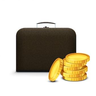 Fall mit goldenen münzen