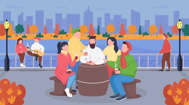 Fall städtisches picknick flache farbillustration