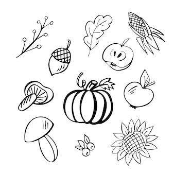 Fallen sie handgezeichnetes doodle-set von 11 elementen