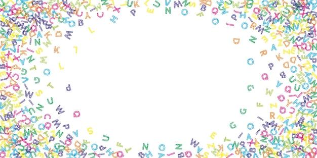 Fallende buchstaben der englischen sprache. bunte skizze fliegende wörter des lateinischen alphabets. studienkonzept für fremdsprachen. herrliche zurück zu schulfahne auf weißem hintergrund.