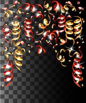 Fallende bunte konfetti und bunte bänderweihnachtsdekorationen auf der transparenten hintergrundwebseite und der mobilen app