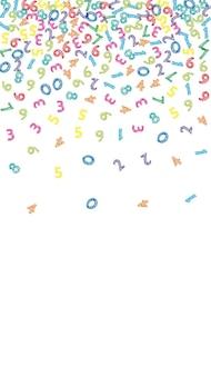 Fallende bunte skizzennummern. mathe-studienkonzept mit fliegenden ziffern. strahlende zurück zu schulmathematikfahne auf weißem hintergrund. fallende zahlen-vektor-illustration.