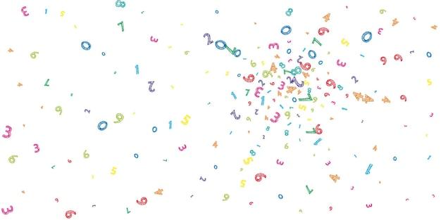 Fallende bunte unordentliche zahlen. mathe-studienkonzept mit fliegenden ziffern. strahlende zurück zu schulmathematikfahne auf weißem hintergrund. fallende zahlen-vektor-illustration.