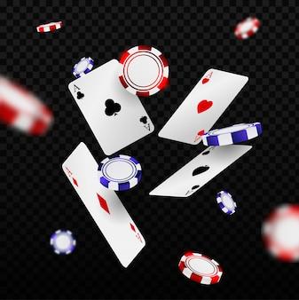 Fallende casino-chips und asse mit unscharfen elementen. spielkarten und pokerchips fliegen casino.