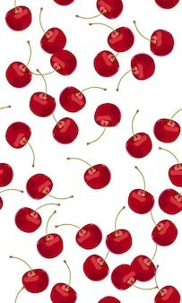 Fallende früchte des nahtlosen musters kirsch
