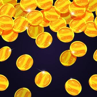 Fallende goldene münzen. nahtlose grenze