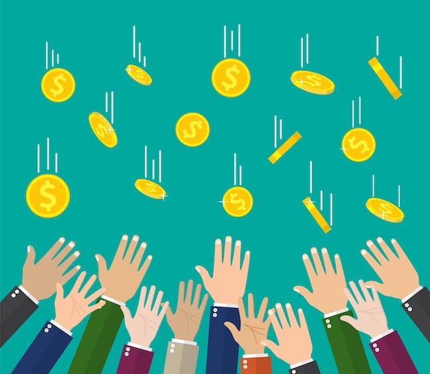 Fallende goldmünzen und hände. geld regen. goldene münzen mit dollarzeichen. Premium Vektoren