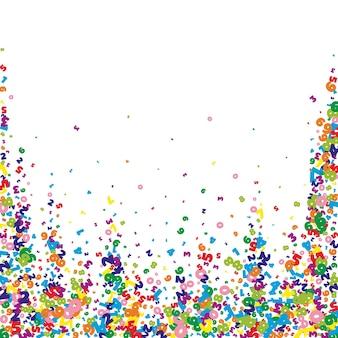 Fallende lebendige zahlen. mathe-studienkonzept mit fliegenden ziffern. fair zurück zu schulmathematik-banner auf weißem hintergrund. fallende zahlen-vektor-illustration.