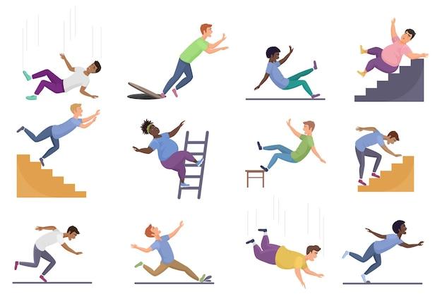 Fallende menschen setzen sich, fallen von einer rutschigen leiter oder treppe herunter, nasse treppe