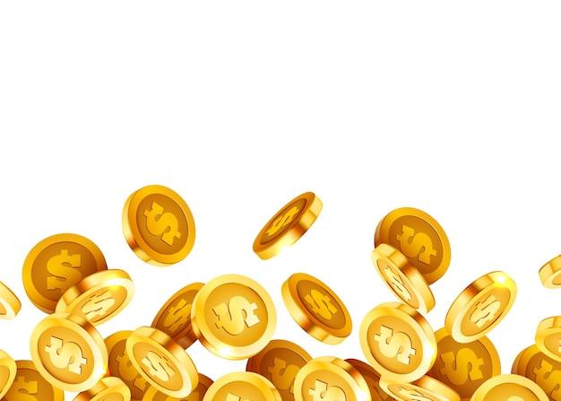 Fallende münzen fallendes geld fliegende goldmünzen goldener regen jackpot oder moderner hintergrund des erfolgskonzepts