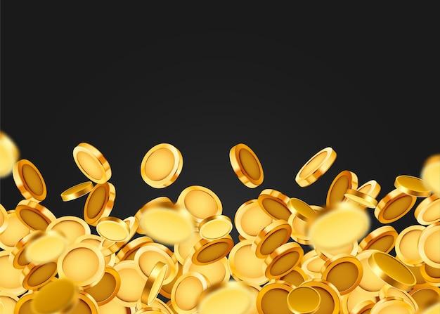 Fallende münzen, fallendes geld, fliegende goldmünzen, goldener regen.