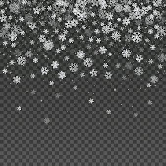 Fallende schneeflocke lokalisierte vektorwinter-dekorationstapete. magischer weihnachtsschneesturmhintergrund. transparente winterillustration der schneefälle