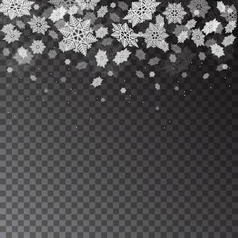 Fallende schneeflocken auf transparentem hintergrund. weihnachtswinter schneefall. weihnachten-vektor-schnee-textur.