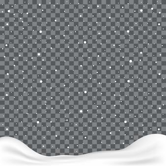 Fallende schneeflocken oder schneeflocken auf transparentem hintergrund