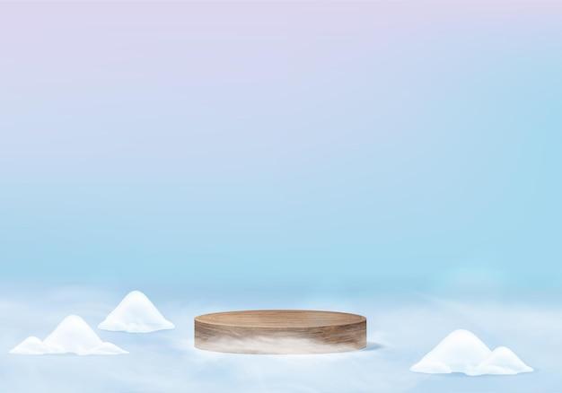 Fallende weihnachten glänzende schnee minimale szene mit geometrischer plattform. winterferien eisschnee hintergrund rendering mit holz podium. stehen, um produkte zu zeigen. bühnenvitrine auf blauem pastell