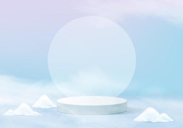 Fallende weihnachten glänzende schnee minimale szene mit geometrischer plattform. winterferien eisschnee hintergrund rendering mit podium. stehen, um produkte zu zeigen. bühnenvitrine auf blauem pastell
