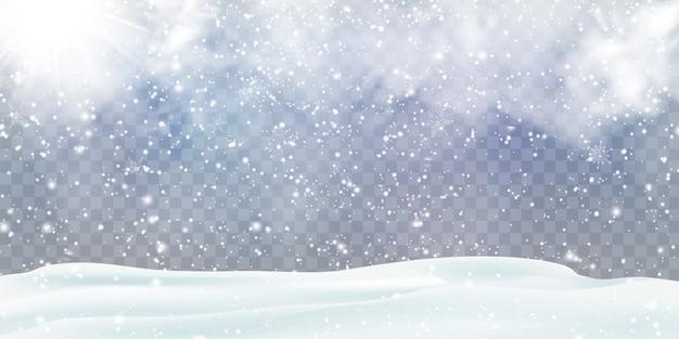 Fallende weihnachtsschneedekoration mit schneeverwehungen, schneebedeckten hügeln isoliert. graues glänzendes plakat mit winterlandschaft, wind, schneesturm. winterferien sturm hintergrund. starker schneefall, schneeflocken.