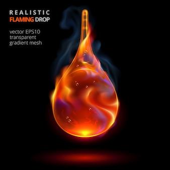 Fallender feuertropfen auf schwarzem hintergrund. 3d realistisches tröpfchen jeder brennbaren flüssigkeit mit einer flamme und rauch. glühender tropfen für werbung für aufregendes parfüm, kraftvollen kraftstoff und starke getränke.
