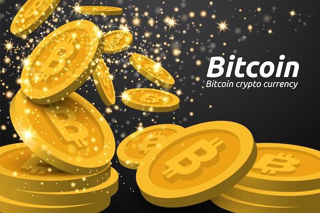 Fallender goldener bitcoin auf dunklem hintergrund