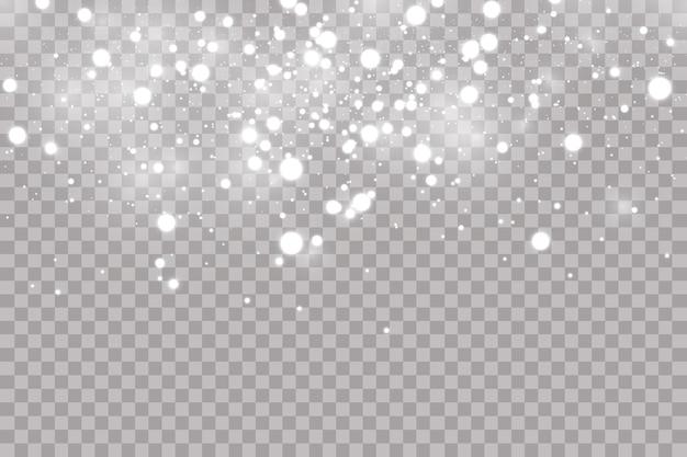 Fallender hagel oder schnee auf einem transparenten hintergrund. fallendes wasser lässt textur fallen.