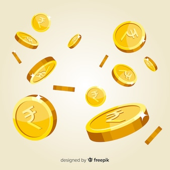 Fallender hintergrund der indischen rupie münzen