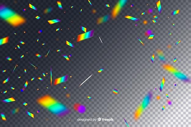 Fallender hintergrund der realistischen holographischen konfettis
