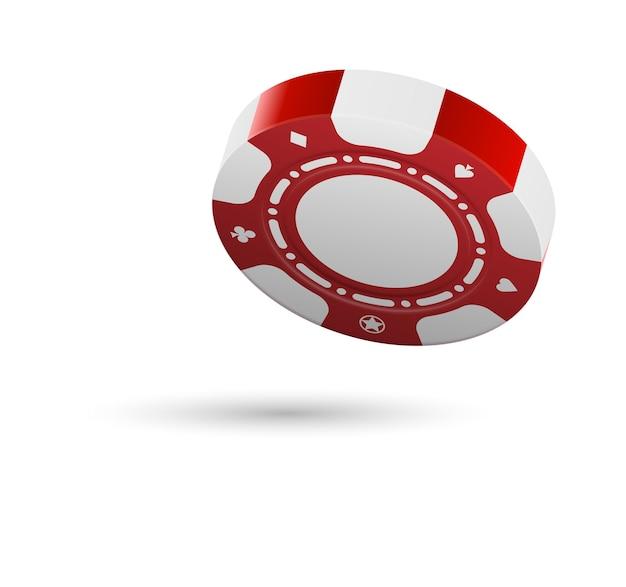 Fallender kasino-chip lokalisiert auf weißem hintergrund