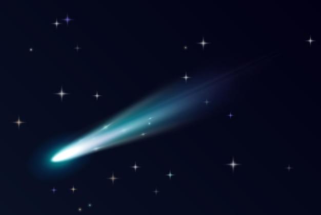 Fallender komet, asteroid oder meteor mit blauer flammenspur im kosmos. realistischer schwarzer himmel mit sternen, fliegenden glühenden meteoriten aus dem weltraum und feuerballblitz. 3d-vektor-illustration