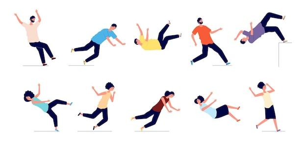 Fallender mann. menschen fallen von treppen, rutschen aus und stolpern
