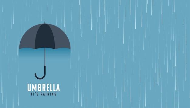 Fallender regen mit schwarzem regenschirmhintergrund