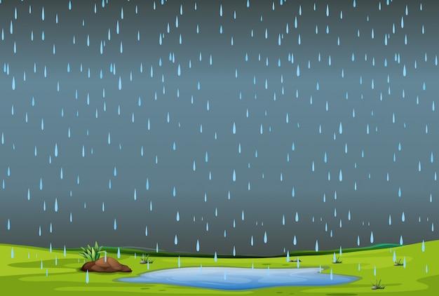 Fallender regen über einfacher landschaft