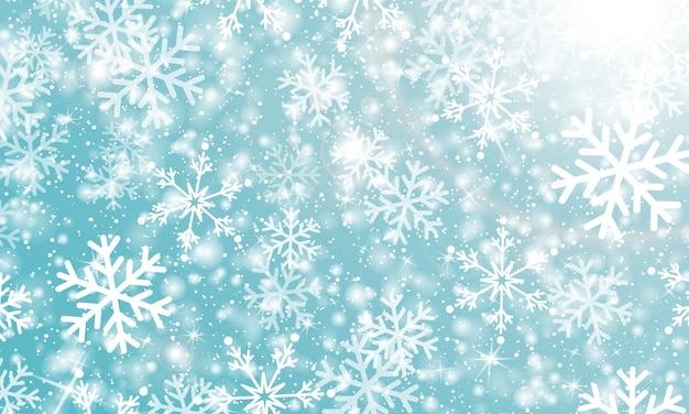 Fallender schnee. illustration. weiße schneeflocken. winterblauer himmel. weihnachtsbeschaffenheit. schneefall hintergrund.