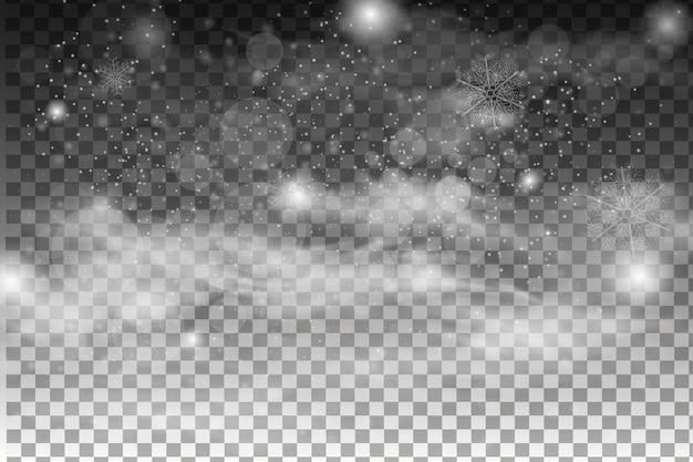 Fallender schnee lokalisiert auf dunklem hintergrund. transparenter dekorationseffekt der schneeflocke. magische weiße schneefallbeschaffenheit. winter schneesturm