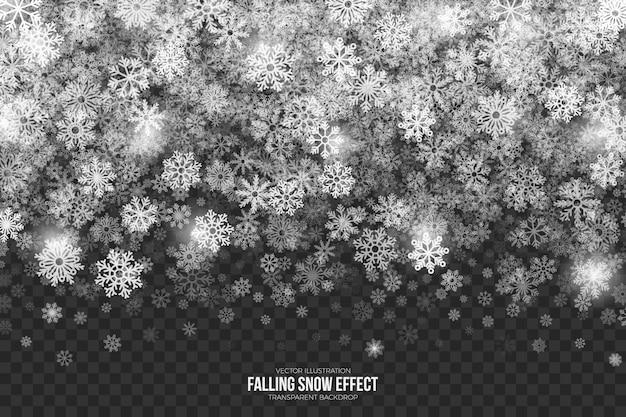 Fallender schneeeffekt auf transparenten hintergrund