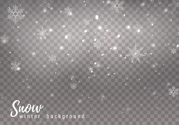 Fallender weihnachtsschnee, schneeflocken, starke schneefälle.