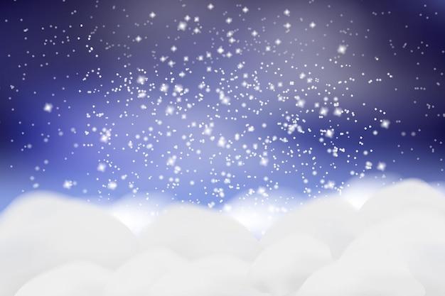 Fallender weißer schnee und verwehungen