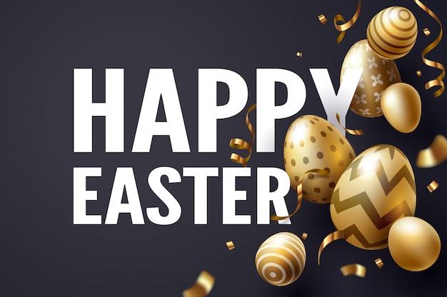 Fallendes goldenes osterei und glücklicher ostern-text feiern
