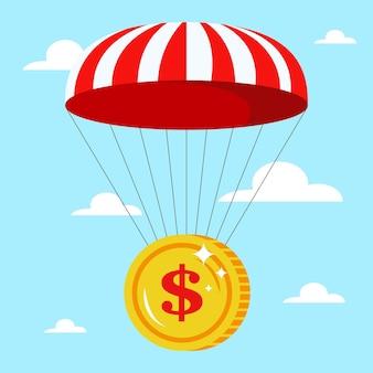 Fallschirm mit einer goldmünze in der sicheren fallkrise des himmels im flachen vektor des finanzsektors