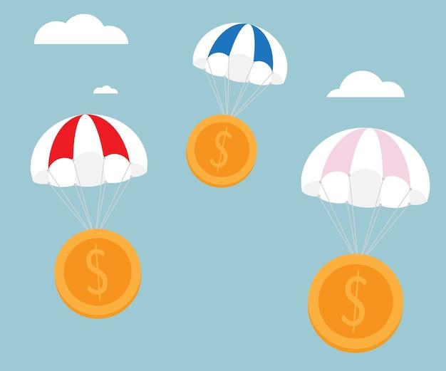 Fallschirm mit goldgeld prägt vektorillustration
