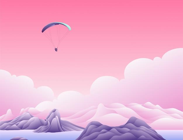 Fallschirm über den wolken